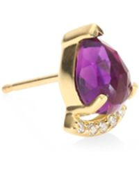 Paige Novick - Powerful Pretty Things Diamond & Amethyst Single Stud Earring - Lyst