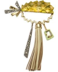 Alexis Bittar - Lucite & Leather Tassel Pineapple Pin - Lyst