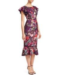 David Meister - Floral Flounce Sheath Dress - Lyst