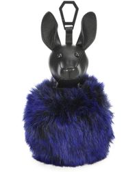 Kendall + Kylie - Bambi Leather & Faux Fur Pom-pom Bag Charm - Lyst