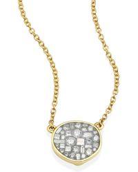 Plevé - Ice Diamond & 18k Yellow Gold Small Pebble Pendant Necklace - Lyst