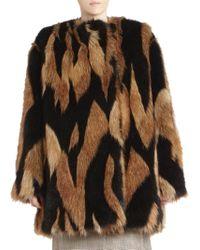 Givenchy - Intarsia Boxy Faux Fur Coat - Lyst