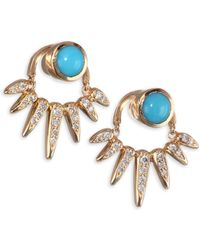 Nikos Koulis - Spectrum Diamond And Turquoise Jacket Earrings - Lyst