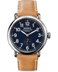 Shinola - Runwell Stainless Steel & Leather Strap Watch - Lyst