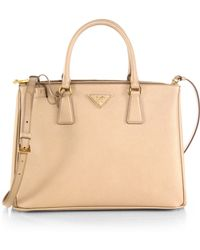 937c856ce992 Prada Saffiano Lux Small Double-zip Tote in Orange - Lyst