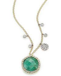 Meira T - Emerald, Diamond & 14k Yellow Gold Pendant Necklace - Lyst