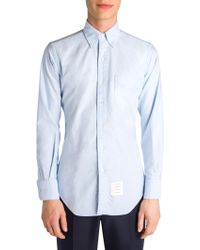 Thom Browne - Long Sleeve Shirt With Grosgrain Placket In Blue Oxford - Lyst