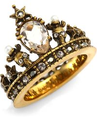 Alexander McQueen - Crystal Crown Ring - Lyst