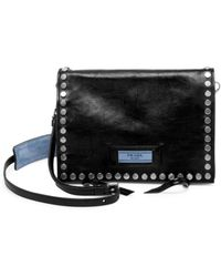 55cadbb19eee Prada - Pattina Studded Leather Shoulder Bag - Lyst