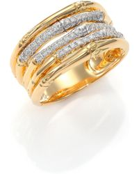 John Hardy | Bamboo Diamond & 18k Yellow Gold Ring | Lyst