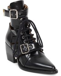 Chloé - Rylee Lace-up Box Calf Boot - Lyst