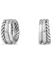 David Yurman - Stax Huggie Hoop Earrings With Diamonds - Lyst