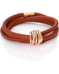 De Grisogono - Allegra Diamond, 18k Rose Gold & Leather Wrap Bracelet/lion - Lyst