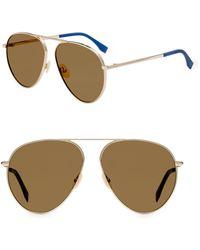 53a694f4c40 Fendi 58mm Squared Aviator Sunglasses in Metallic for Men - Lyst
