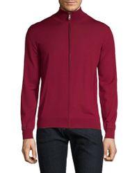 Brioni - Wool Zip Front Sweatshirt - Lyst