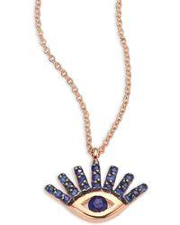 Kismet by Milka | Evil Eye Blue Sapphire & 14k Rose Gold Pendant Necklace | Lyst