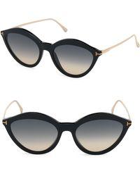 2452442b3fab Tom Ford - Women s Chloe 57mm Oval Sunglasses - Black - Lyst
