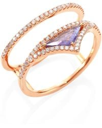 Meira T - Diamond, Tanzanite & 14k Rose Gold Ring - Lyst