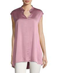Eileen Fisher - Mandarin-collar Cap-sleeve Top - Lyst