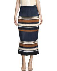 Derek Lam - Ribbed Stripe Midi Skirt - Lyst