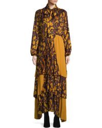 Beatrice B. - Pleated Colorblock Floral Maxi Dress - Lyst