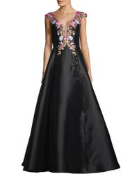 Basix Black Label - Cap-sleeve Embroidered A-line Gown - Lyst