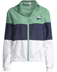 adf426752257 Fila - Women s Luella Colorblock Wind Jacket - Feldspar Peacoat White - Lyst