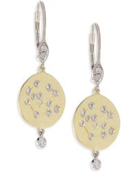 Meira T - Diamond & 18k Yellow Gold Disc Earrings - Lyst