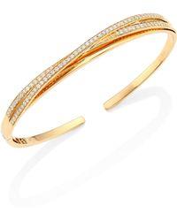 Hueb | Wave Diamond & 18k Yellow Gold Open Bangle Bracelet | Lyst