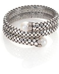John Hardy - Dot 11mm White Pearl, Diamond & Sterling Silver Double Coil Bracelet - Lyst