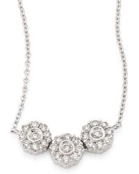 Hueb - Three Flower Diamond & 18k White Gold Pendant Necklace - Lyst
