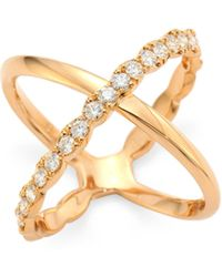 Hearts On Fire - Lorelai Diamond & 18k Rose Gold Crisscross Ring - Lyst