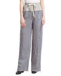 T By Alexander Wang | Striped Combo Pants | Lyst