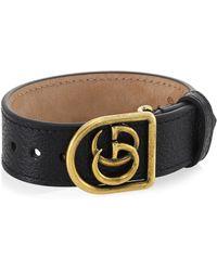 Gucci - Marmont Double G Leather Bracelet - Lyst