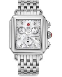 Michele Watches - Women's Deco 18 Diamond, Mother-of-pearl & Stainless Steel Chronograph Bracelet Watch - Silver - Lyst