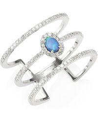 Meira T - Pavé Diamond, Opal & 14k White Gold Organic Ring - Lyst