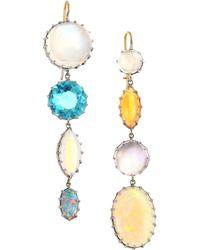 Renee Lewis - 18k White Gold, Moonstone, Zircoin Black Opal & Fire Opal Drop Earrings - Lyst
