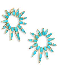 Nikos Koulis - Spectrum Diamond & Turquoise Hoop Earrings/1.5 - Lyst
