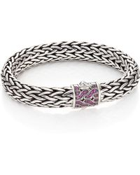 John Hardy - Classic Chain Pink Sapphire & Sterling Silver Large Bracelet - Lyst