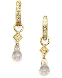 Jude Frances - White Topaz, Diamond & 18K Yellow Gold Earring Charms - Lyst