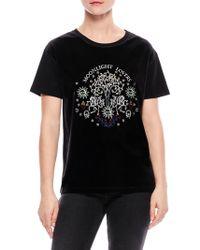 Sandro - Teresa 'moonlight Lovers' Embroidered Velvet And Jersey T-shirt - Lyst