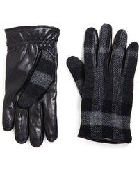 Burberry - Oscar Checked Leather Gloves - Lyst