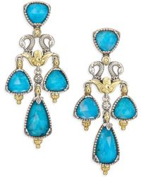 Konstantino - Iliada Chrysocolla, Quartz, 18k Yellow Gold, Sterling Silver Double Ring Drop Earrings - Lyst