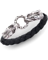 John Hardy - Naga Sterling Silver & Leather Dragon Woven Bracelet/black - Lyst