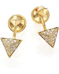 Marli - Astrid Diamond & 18k Yellow Gold Ear Jacket & Stud Earrings Set - Lyst