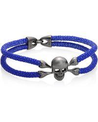 Stinghd - Men's Blackened Silver & Stingray Skull Wrap Bracelet - Blue - Size 7 - Lyst