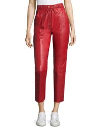 Tommy Hilfiger - Drawstring Leather Trousers - Lyst