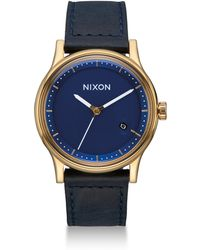 Nixon - Station Tapered Leather Strap Watch - Lyst
