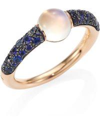 Pomellato - M'ama Non M'ama Blue Sapphire, Moonstone & 18k Rose Gold Ring - Lyst