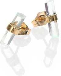 Jacquie Aiche - Aquamarine & 14k Yellow Gold Small Bar Stud Earrings - Lyst